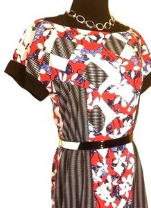 PETER PILOTTO TARGET HI-LOW HEM BELTED DRESS 2